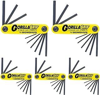 product image for Bondhus 12591 GorillaGrip Set of 9 Hex Fold-up Keys, sizes .050-3/16-Inch - 5 Pack