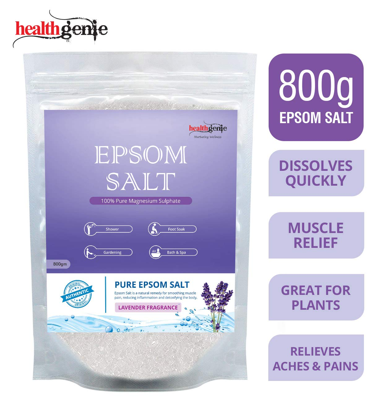 Healthgenie Epsom Salt for Relaxation and Pain Relief with Lavender Fragrance - 800 g
