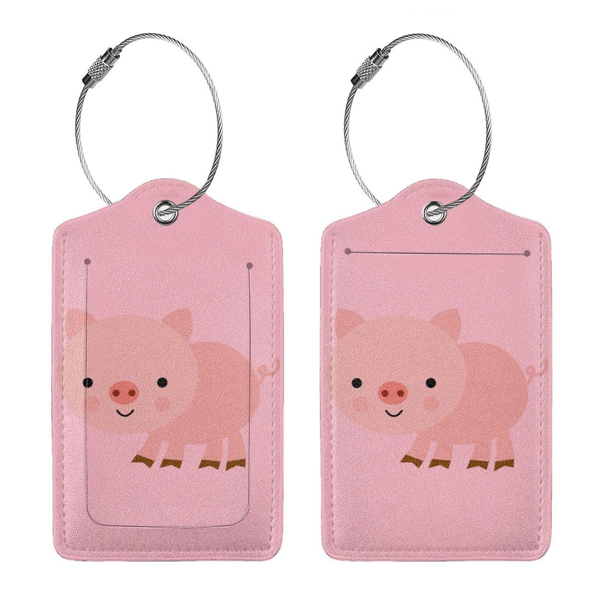 Cute Pink Pig Leather Luggage Tags Suitcase Tag Travel Bag Labels With Privacy Cover For Men Women 2 Pack 4 Pack