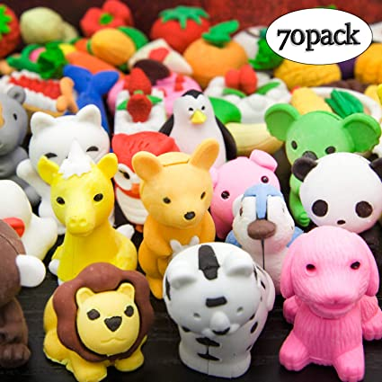 LanMa 70PCS Animal Pencil Erasers Japanese Puzzle Food Erasers for Kids  Classroom Prizes Party Gifts Cute Erasers Set