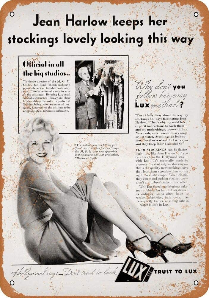 Yohoba 1933 Jean Harlow para jabón de lavandería de Lux, Estilo Vintage, señales de Metal de 12 x 18 Pulgadas: Amazon.es: Hogar