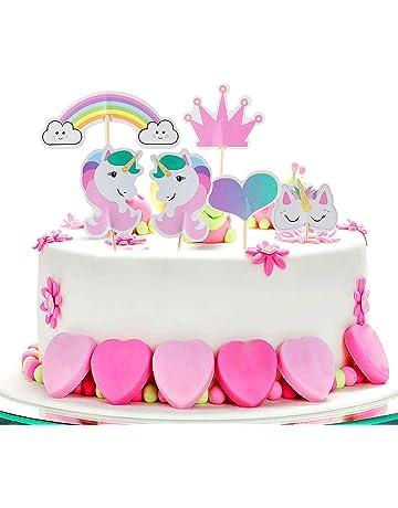 Cake Topper de Unicornio Topper,ZeWoo 48 Piezas de Tartas en Corazón Corona Arco Iris