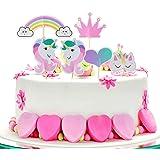 ZeWoo Unicorno Cupcake Topper, 48 Pezzi Arcobaleno Cuore Corona Torta Topper per Festa a Tema e Compleanno Torta Decorazione