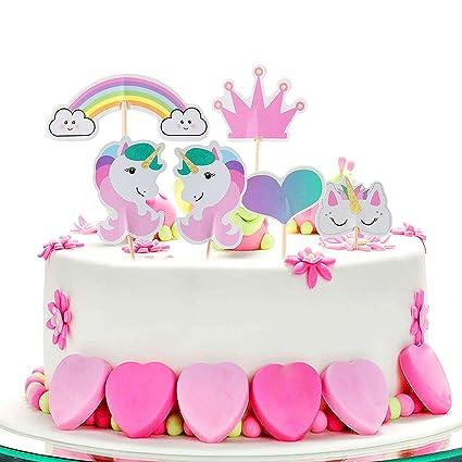 ZeWoo Unicorno Cupcake Topper, 48 Pezzi Arcobaleno Cuore Corona Torta  Topper per Festa a Tema e Compleanno Torta Decorazione Amazon.it Casa e  cucina