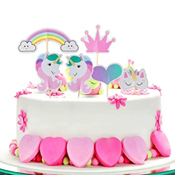 Unicorn Cake Toppers ZeWoo Rainbow Heart Crown For Themed Party Birthday Decoration