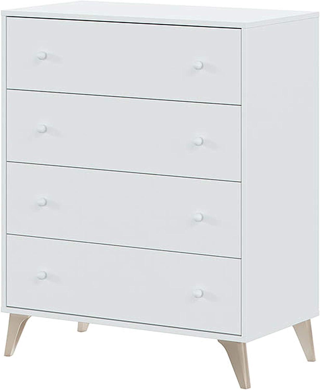 Habitdesign 007804A - Comoda 4 Cajones, Sifonier, Modelo Sweet, Color Blanco Artik, Medidas: 77,5 cm (Largo) x 40 cm (Fondo) x 95 cm (Alto)