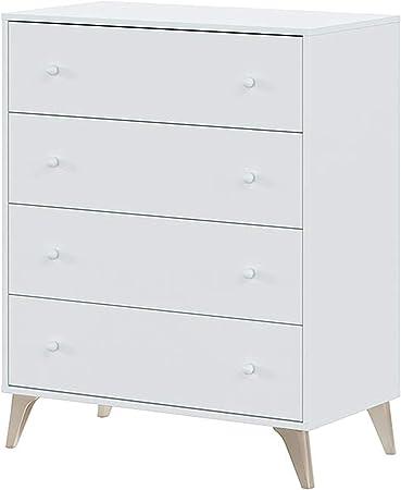 Oferta amazon: Habitdesign 007804A - Comoda 4 Cajones, Sifonier, Modelo Sweet, Color Blanco Artik, Medidas: 77,5 cm (Largo) x 40 cm (Fondo) x 95 cm (Alto)