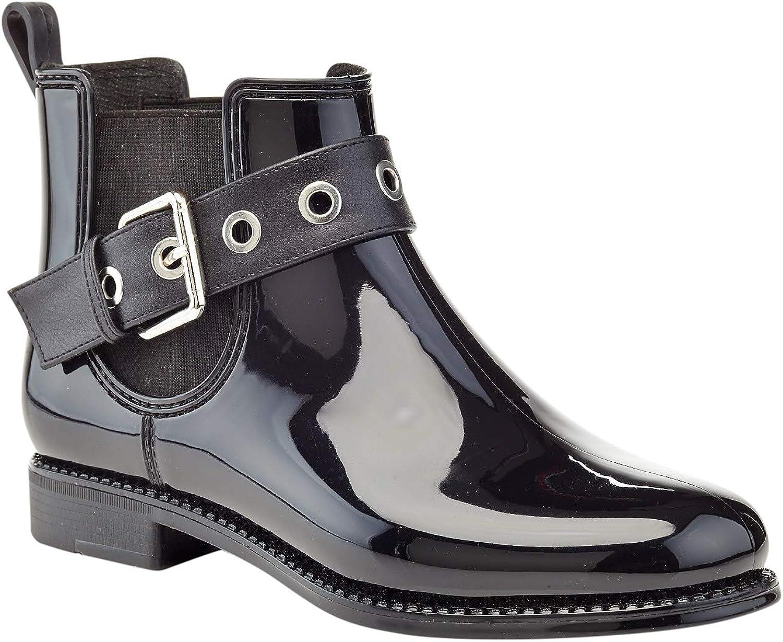 Henry Ferrera Women/'s Ankle Rain Boots With Elastic Design