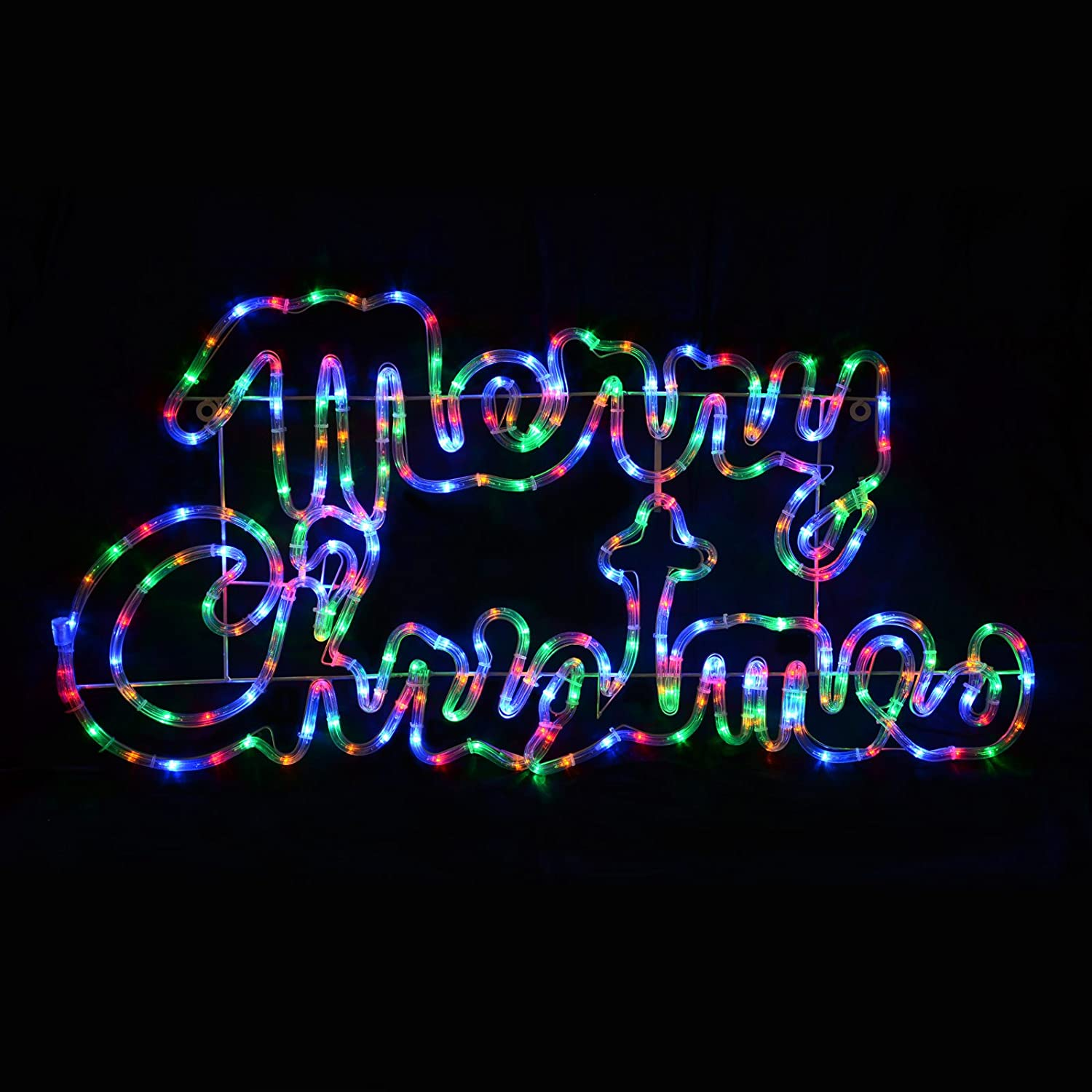 Multi coloured led rope light merry christmas sign decoration indoor multi coloured led rope light merry christmas sign decoration indooroutdoor new amazon kitchen home mozeypictures Images