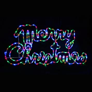 SPARKLES Multi Coloured LED Rope Light Merry Christmas Sign Decoration  Indoor/Outdoor - SPARKLES Multi Coloured LED Rope Light Merry Christmas Sign