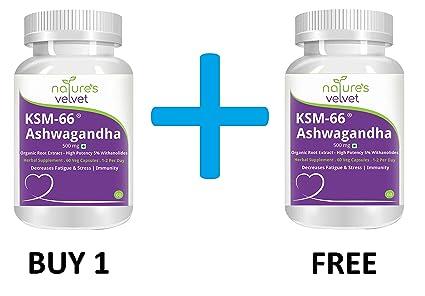 Natures Velvet Ksm66 Ashwagandha (500 mg) - 60 Veg Capsules - ksm 66 (BUY 1  GET 1 FREE)