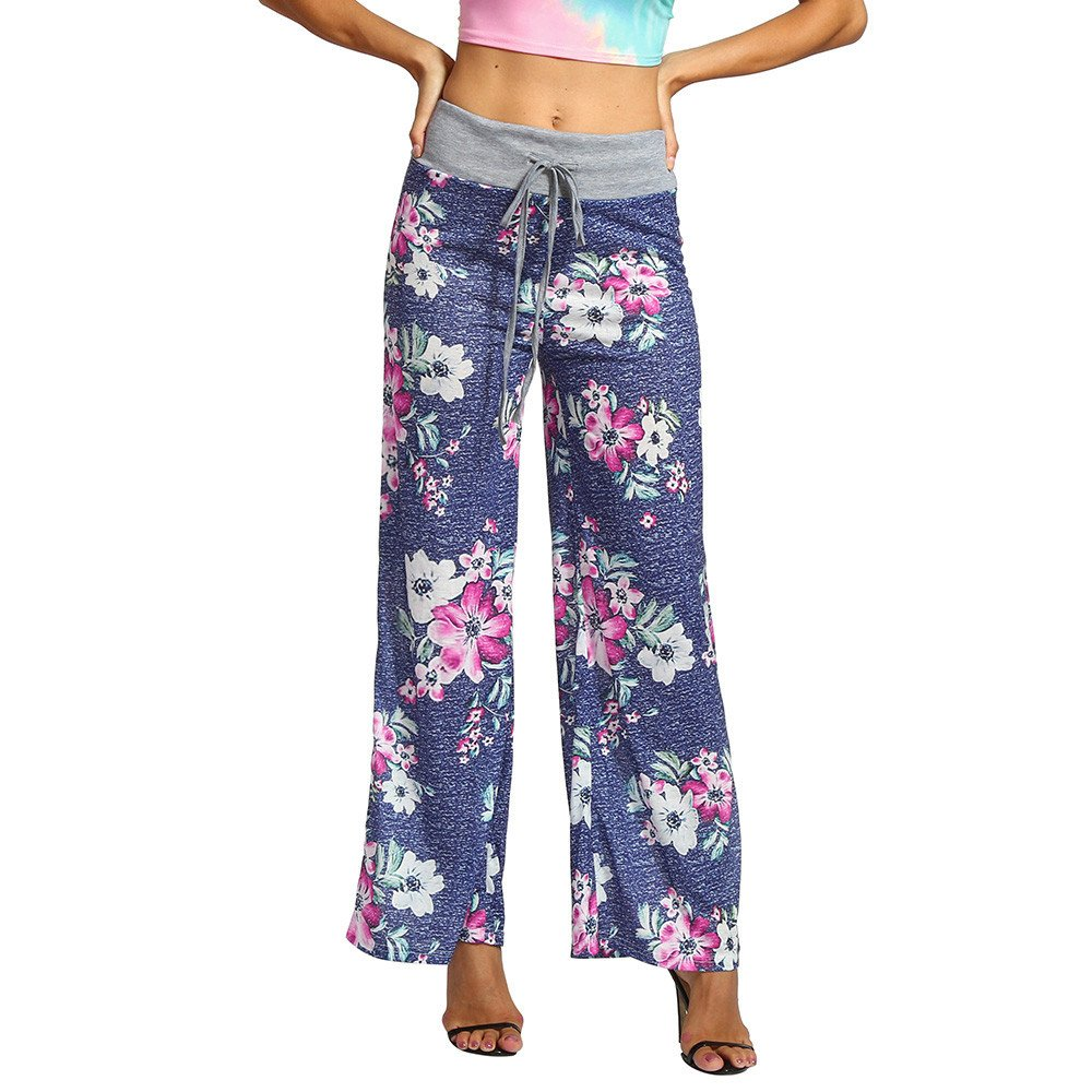 MOSE Printed high waist casual casual wide leg pants Women Summer Floral Print Loose Yoga Wide Leg Trousers Pants (Blue, S)