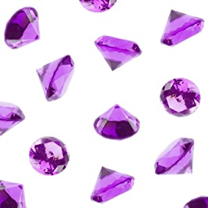 Super Z Outlet Acrylic Color Faux Round Diamond Crystals Treasure Gems for Table Scatters, Vase Fillers, Event, Wedding, Birthday Decoration Favor, Arts & Crafts (1 Pound, 240 Pieces) (Purple)