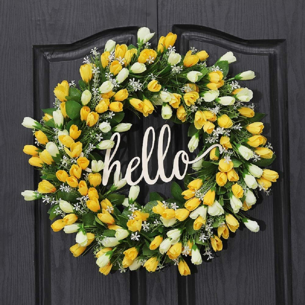 QUNWREATH Handmade Floral 18 inch Tulip Series Wreath,Gifts Package,Spring Wreath,Wreath for Front Door,Rustic Wreath,Farmhouse Wreath,Grapevine Wreath,Light up Wreath,Everyday Wreath,QUNW54