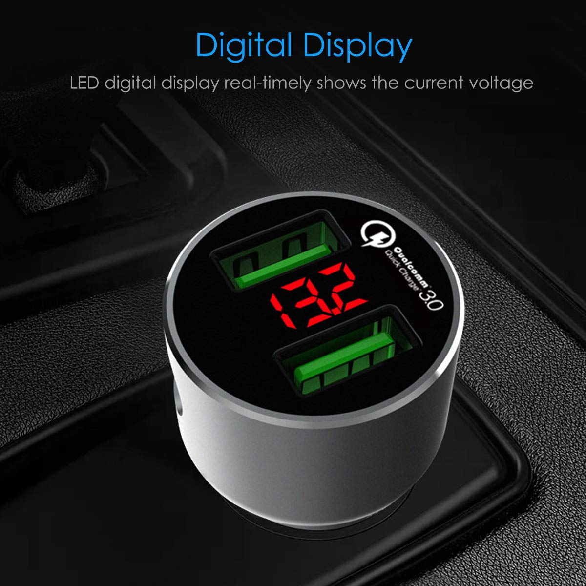 Nexus iPhone XR XS Max X 8 7 6s Plus Fast Car Charger Adapter with LED Display Compatible for Samsung Galaxy S9 S8 S7 Edge Plus Note 9 8 36W Quick Charge 3.0 Dual USB Car Charger iPad Air Mini