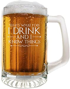 Premium Game of Thrones Fine Quality Hand Deep Etched 25oz Beer Mug I Drink & I Know Things Gift, Made in USA, Sand Carved by Fine Occasion