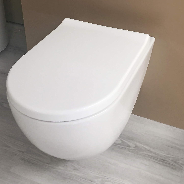 Asiento de inodoro Aqua Bagno Diamond Universal D-Form Premium easyclean asiento del inodoro asiento de inodoro de polipropileno de alta calidad con cierre suave y extra/íble