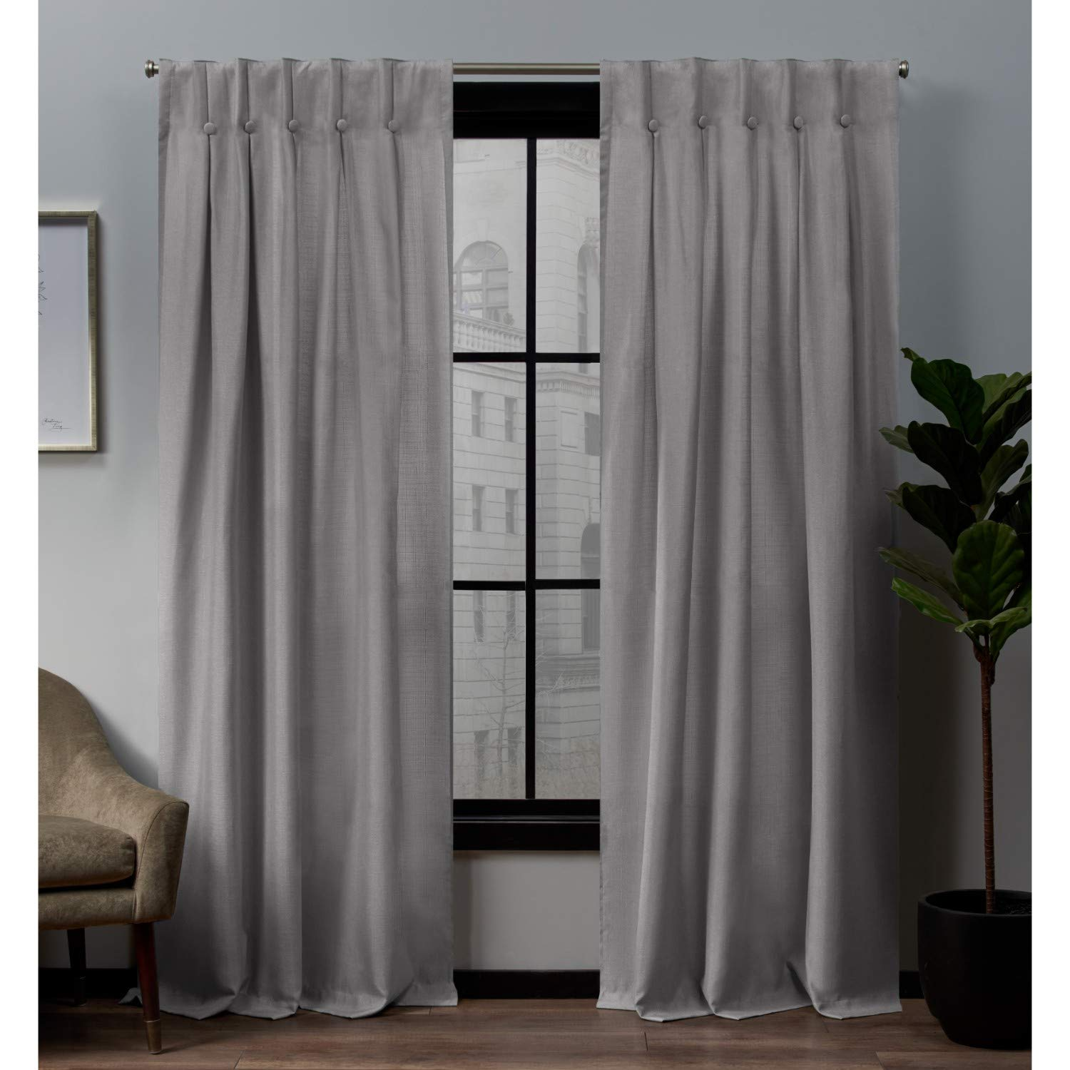 Exclusive Home Curtains Loha Linen Button Top Curtain Panel Pair, 32x96, Dove Grey