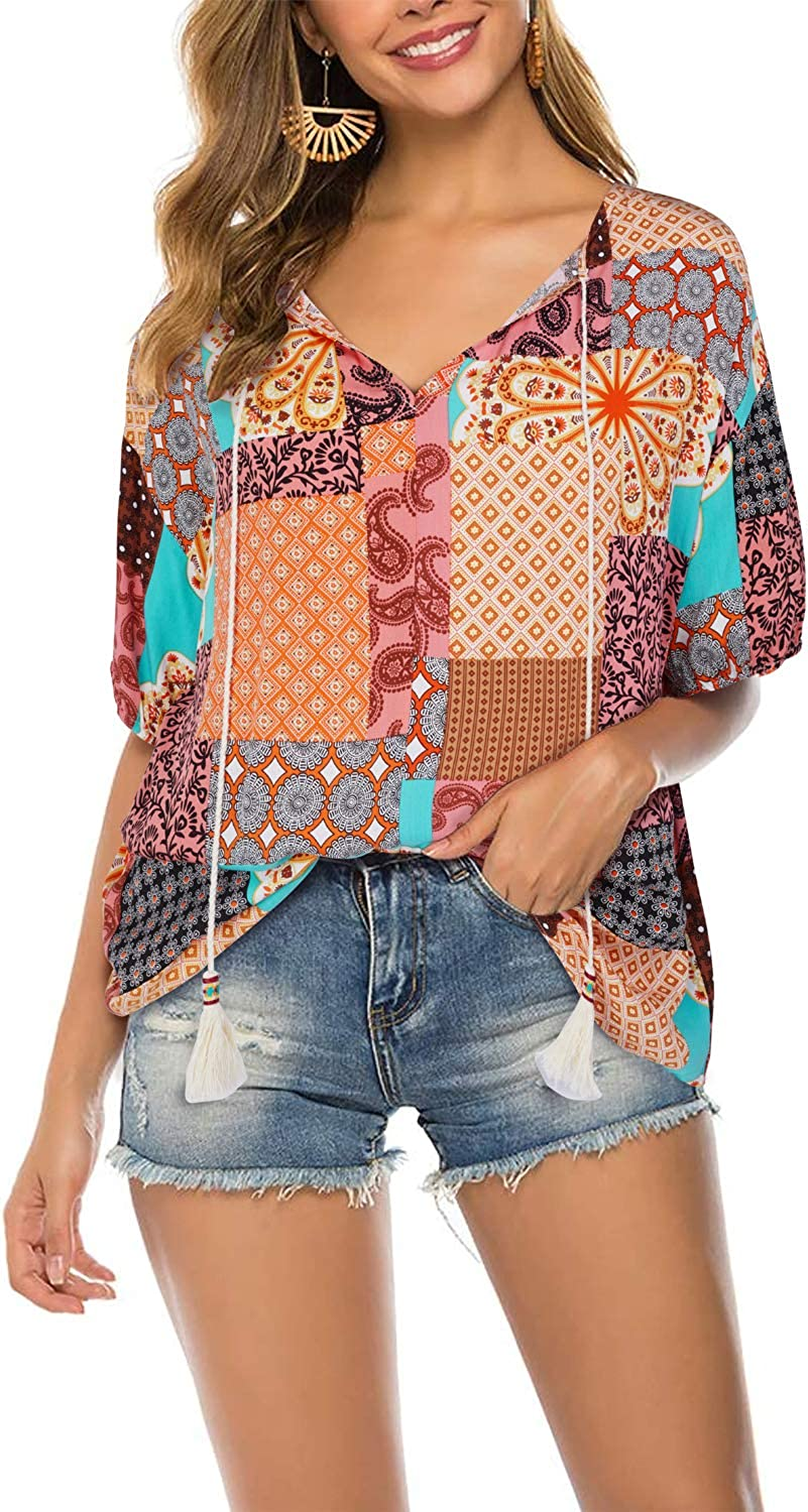 FARYSAYS Womens Summer Round Neck Short Sleeve Floral Print T-Shirt Tops Casual Blouses