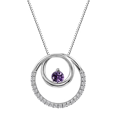 Amazon sterling silver amethyst and lab created white sapphire amazon sterling silver amethyst and lab created white sapphire circle pendant jewelry mozeypictures Image collections
