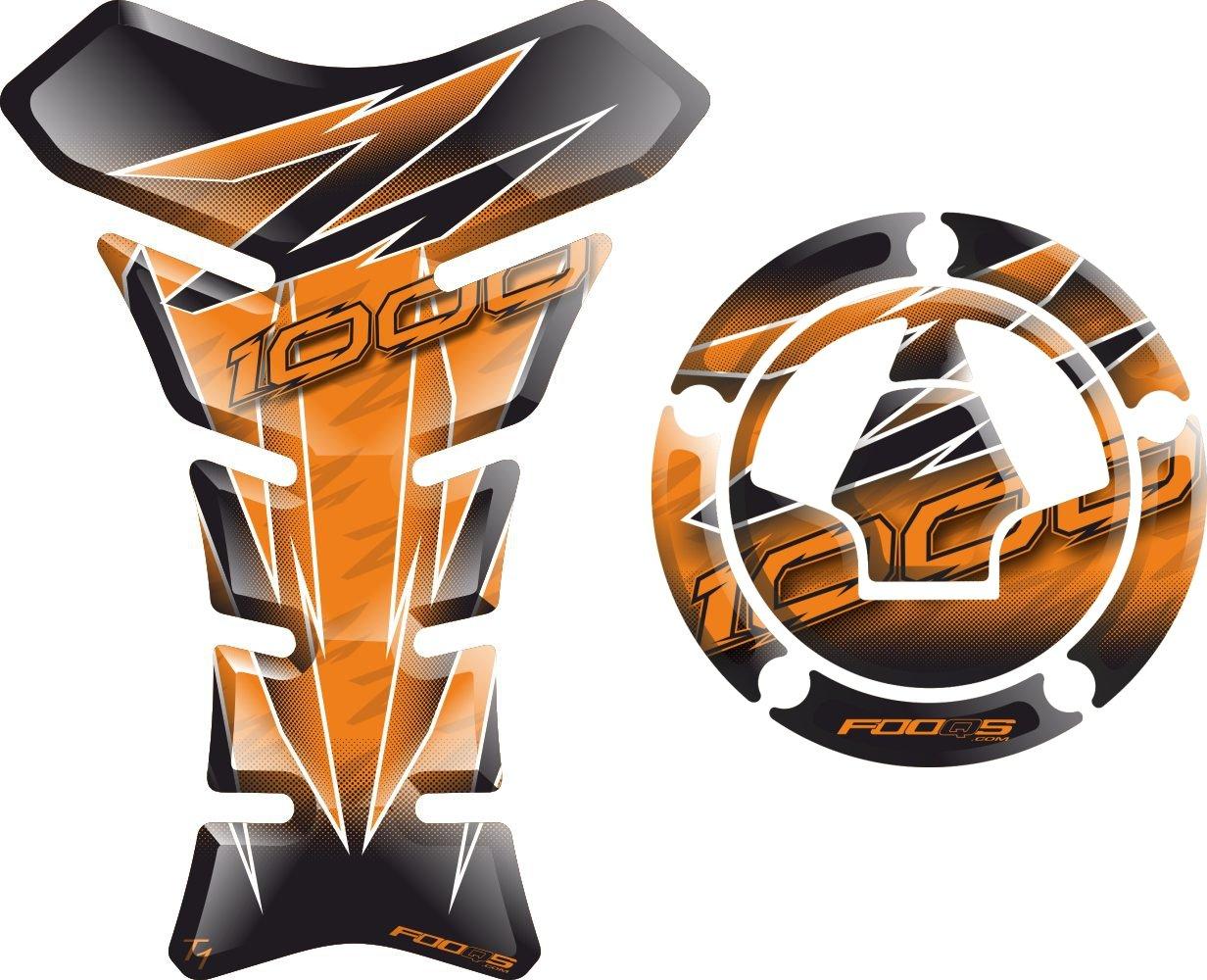 Set Tankpad + cappad Moto Tank 3 D 3d Gel autocollants Gas Cap Pad Cap de Pad cappad Couverture autocollants Tank Pad Tank Pad Pad de ré servoir pour Kawasaki Z1000 Z 1000 (Orange) Fooqs
