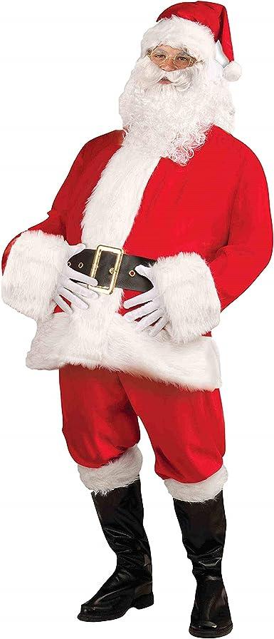 Tvakkera Santa Claus Costume Plus Size 9PC Pants Belt Beard Bag Christmas