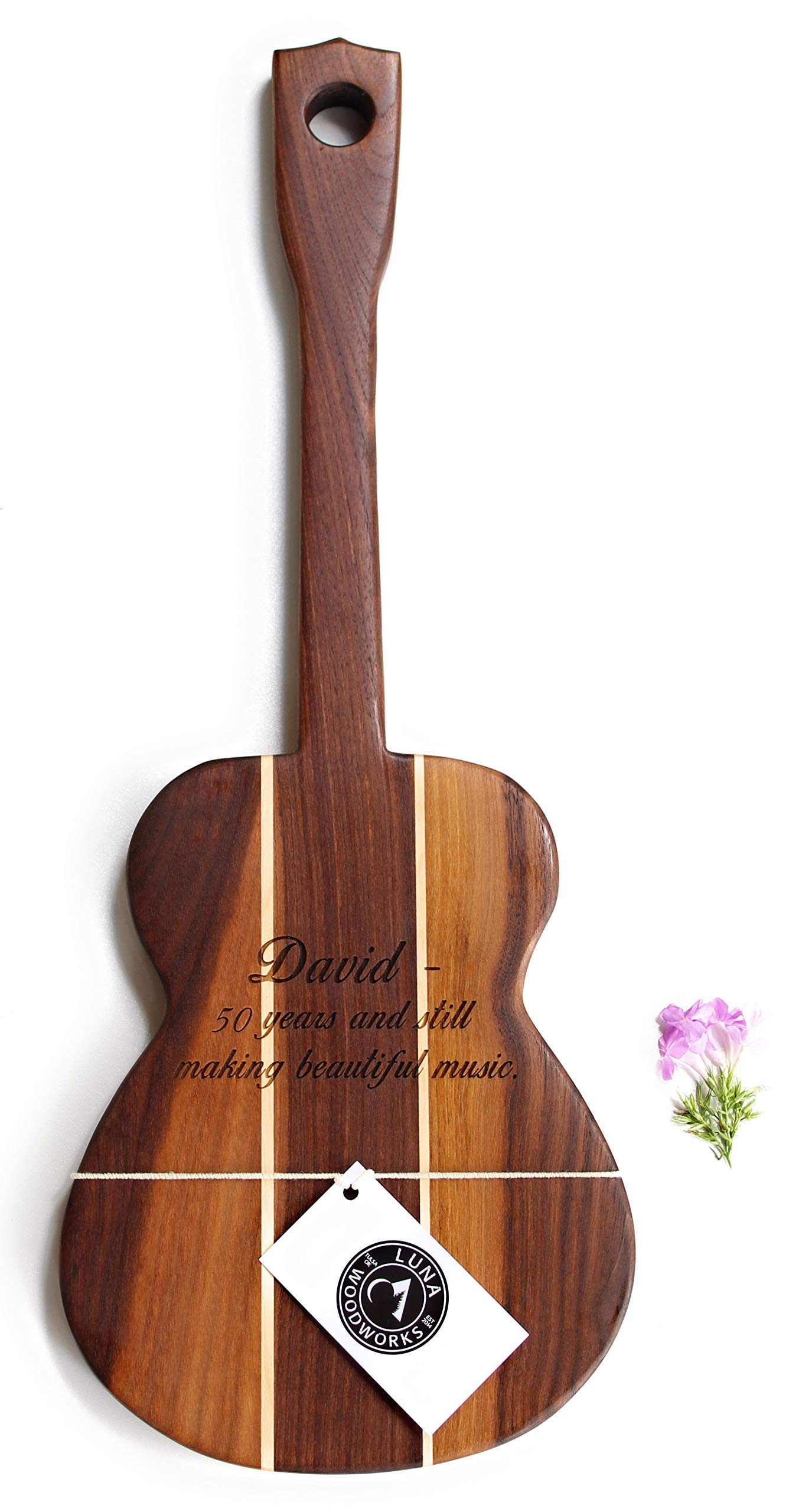 Ukulele Guitar Cutting Board Engraved Wood Wall Art Personalized Serving Tray Wedding Gift Anniversary Custom Wooden Sign Handmade in USA Kitchen Decor Musician Gift Guitar shaped Walnut