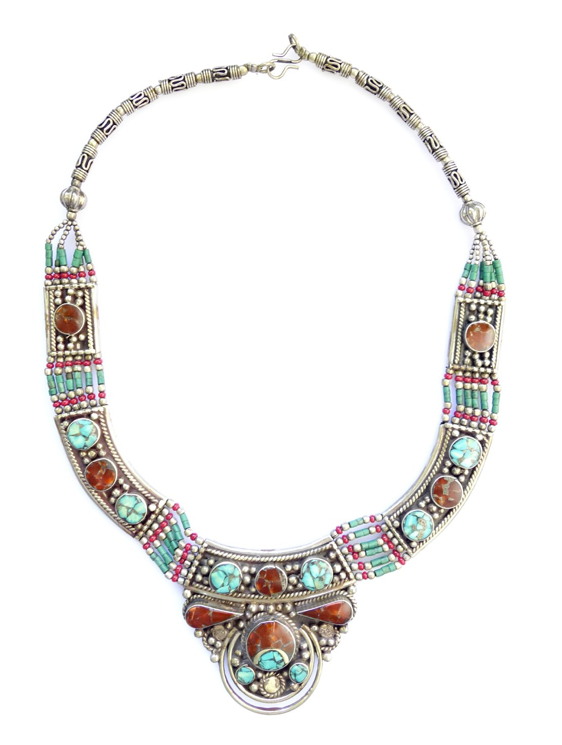 TURQUOISE & CORAL GEMSTONE TIBETAN HANDMADE NECKLACE FOR WOMEN 925 STERLING SILVER FASHION NECKLACE UNIQUE ETHNIC TRIBAL GYPSY FUSION STATEMENT NECKLACE