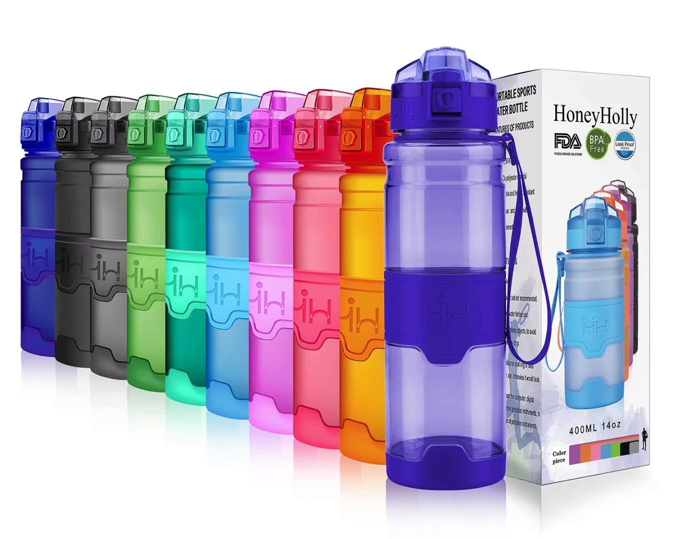 HoneyHolly Portable Sports Water Bottle-Leak Proof Kids Water Bottle Reusable Container,One Click Flip Cap14//17//24//26//32//50Ounce,for Outdoor//Camping//Running//Gym,Non Toxic,BPA-Free Tritan Plastic