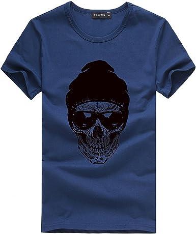 Verano Camiseta de Manga Corta para Hombre Moda Estampado Calaveras Cuello Redondo Sueltos Casuales Transpirables T-Shirt Blusa Tops Sudadera MMUJERY: Amazon.es: Ropa y accesorios