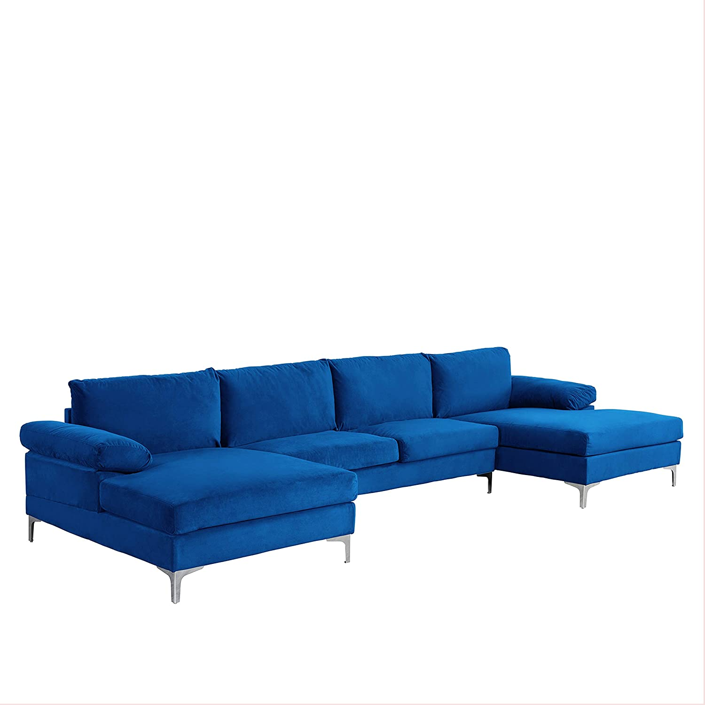 Casa Angrea Milano Modern Large Velvet Fabric U-Shape Sectional Sofa