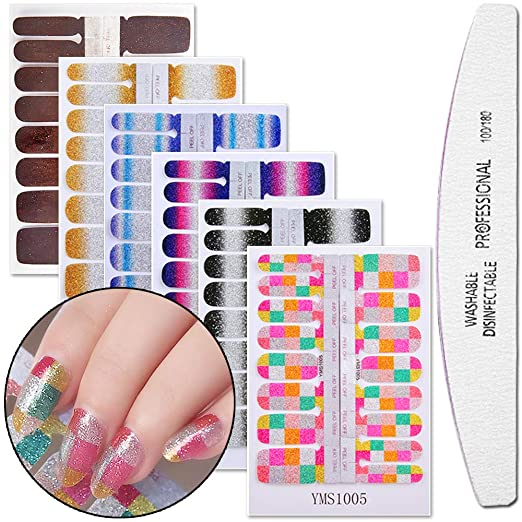 WOKOTO 6Pcs Nail Wraps For Women Sticker Nails With 1Pc Nail File Kit Full Nail Tips Stickers Wraps For Nails