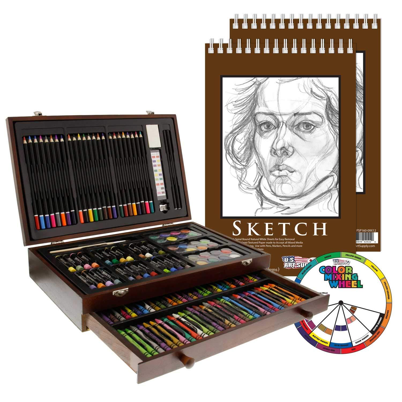 U.S. Art Supply 145 Piece-Mega Wood Box Art, Painting & Drawing Set with Color Mixing Wheel and Bonus 2-9''x12'' Drawing Sketching Paper Pads