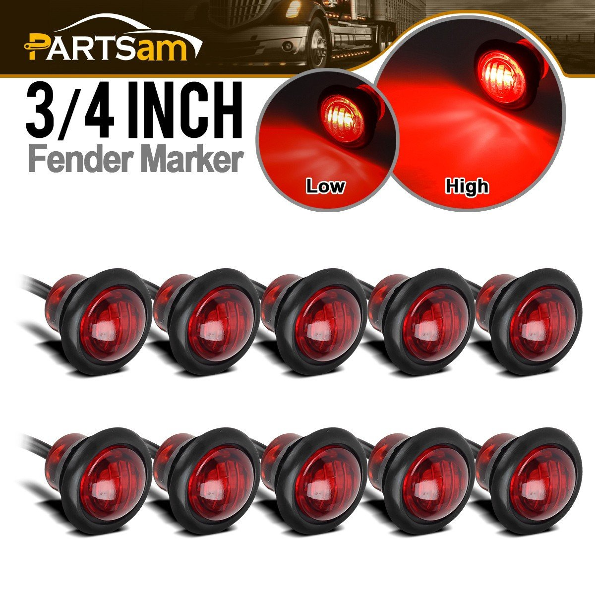 Partsam (10) LED Light AMBER 3/4' Grommet Marker Clearance Trailer 2 function High & Low 3 Wire, 3/4 led dual function marker lights, Amber 3 LED Mini 3/4' Running/Turn Signal Lights with Grommet Amber 3 LED Mini 3/4 Running/Turn Signal Lights with Grommet