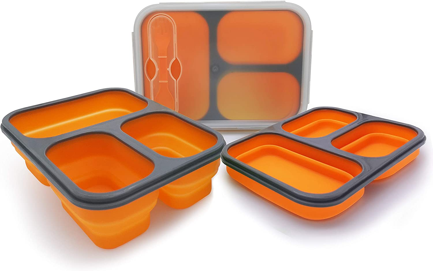 Exclusivo Bolsillo Bento Lunch Box for Women Men & Kids With Spoon & Fork,BPA Free,Collapsible and Leakproof Food Grade Silicone Food Storage Containers with 3 Compartments (Orange,One Container)