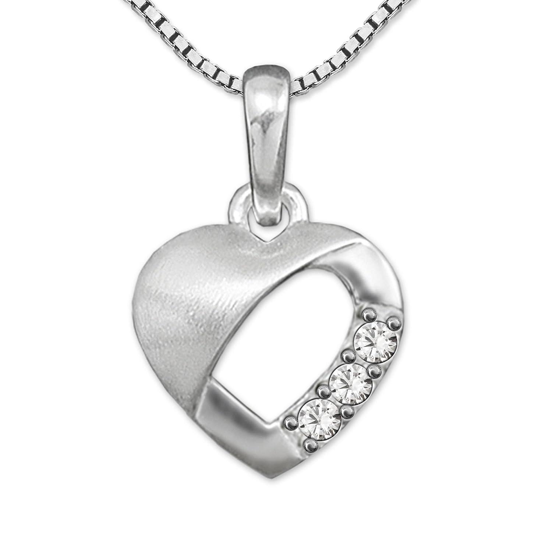 Clever Juego de joyas plateado Pequeño colgante 9mm Mini Corazón Interior abierto con 3circonitas teilmatt y cadena Venezia 40cm plata de ley 925