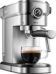 Brewsly 15 Bar Espresso Machine, Stainless Steel Compact Espresso Maker with Milk Frother Wand, Professional Coffee Machine for Espresso, Cappuccino and Latte