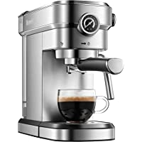 Brewsly 15 Bar Espresso Machine, Stainless Steel Compact Espresso Maker with Milk Frother Wand , Professional Coffee…