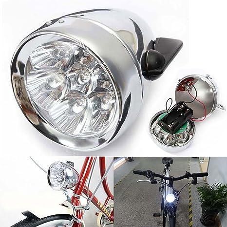 Classic bicicleta faro delantero (7 LED) con soporte, diseño retro ...