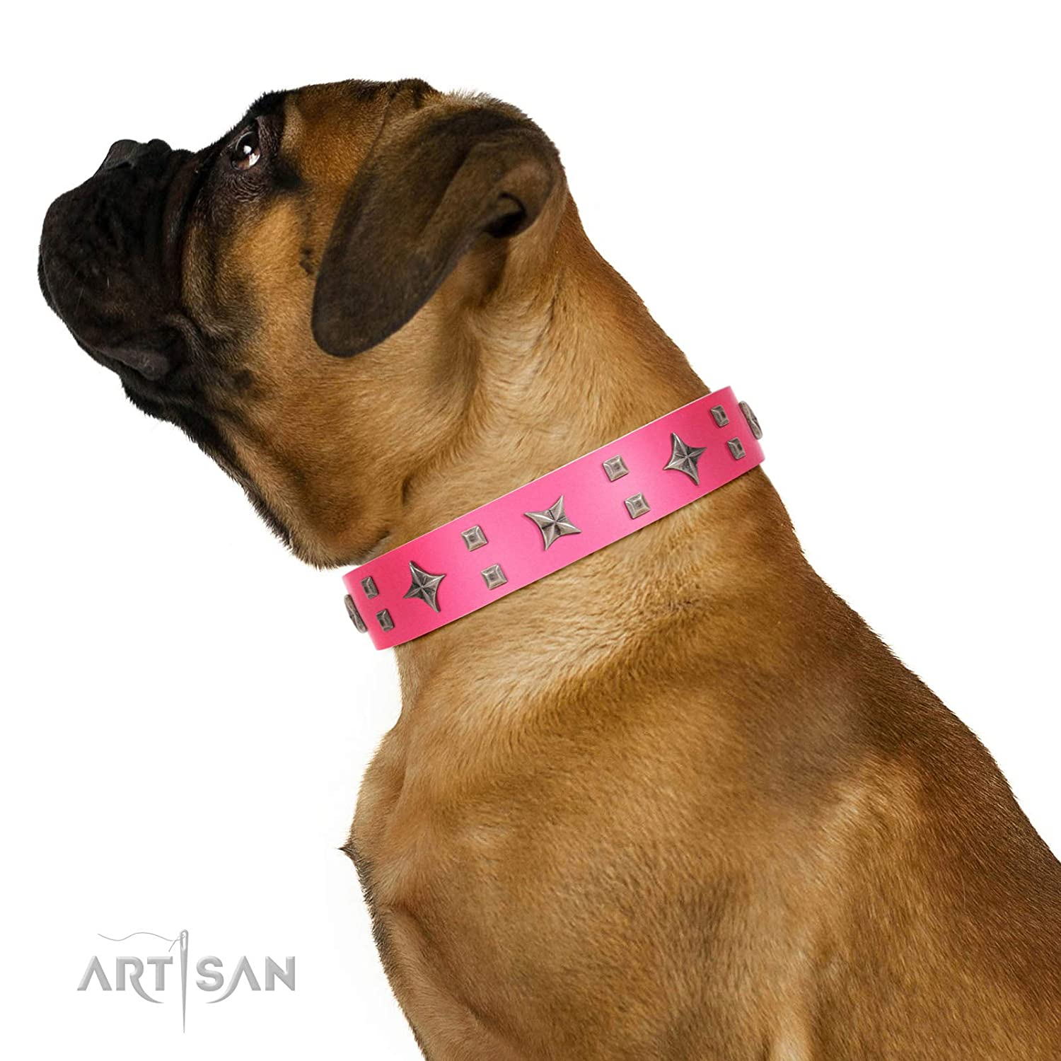 Fits for 24 inch (60cm) dog's neck size FDT Artisan 24 inch Designer Pink Leather Dog Collar with Exclusive Decorations Stars in Pink Dreams 1 1 2 inch (40 mm) Wide