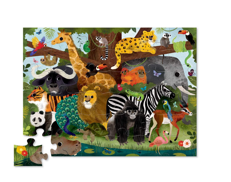 Crocodile Creek 4076-3 Jungle Friends Floor Puzzle 36 Piece Green