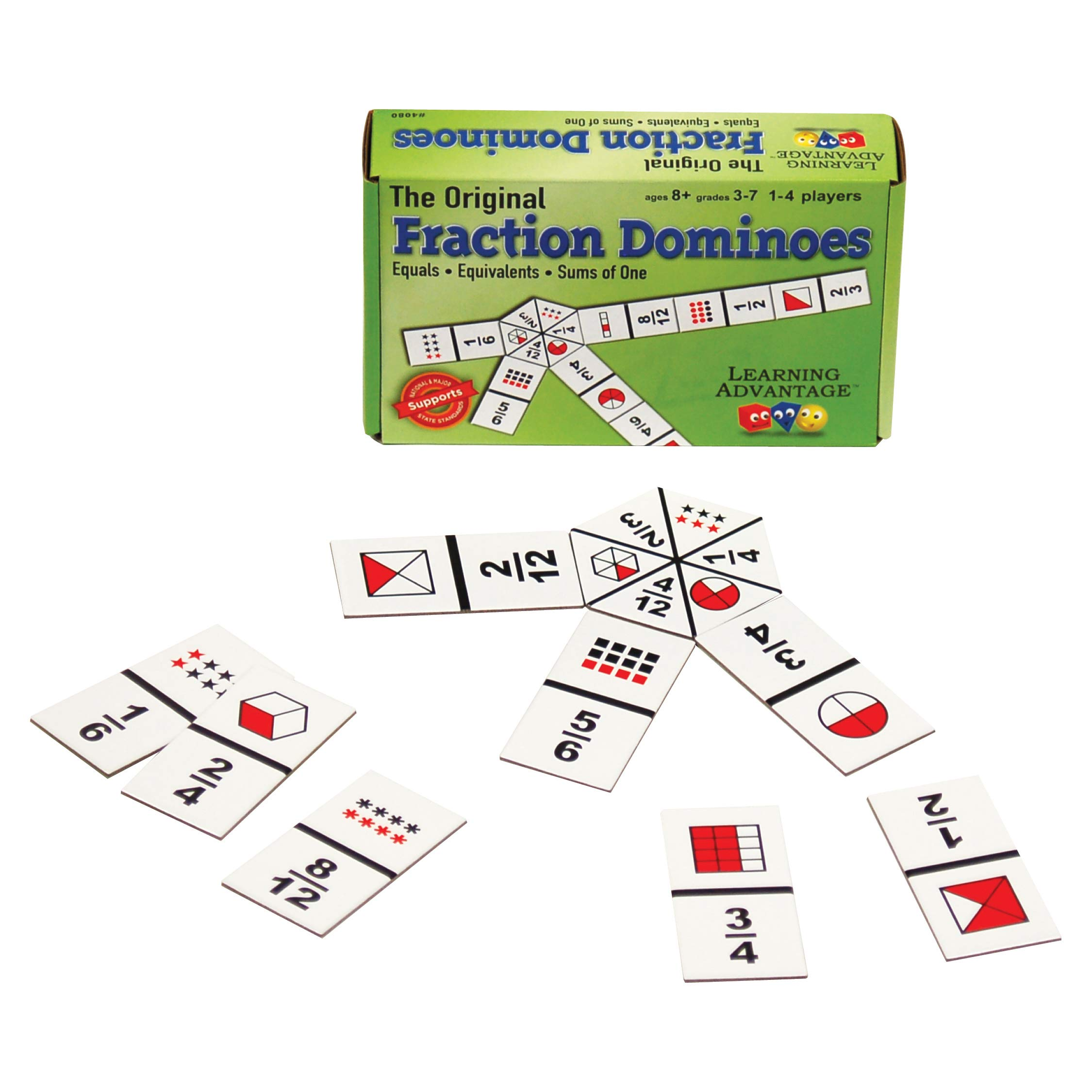 Learning Advantage The Original Fraction Dominoes - 45 Dominoes - Math Manipulative Game for Kids - Teach Equivalent, Adding and Subtracting Fractions by Learning Advantage