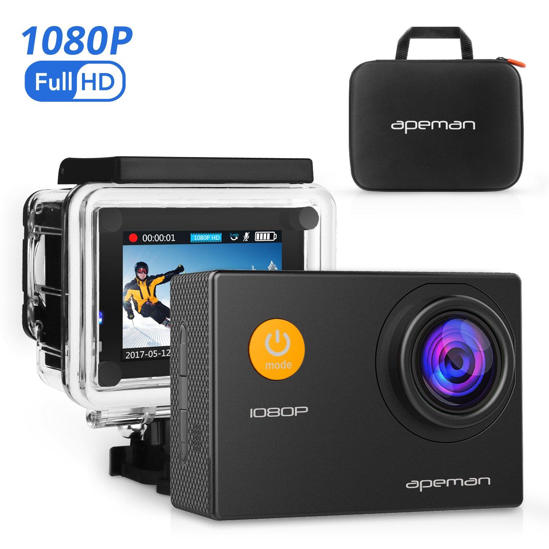 APEMAN A60运动相机全高清运动1080P 12MP 170°广角+附件套件,带防水套和便携包。 非常适合骑自行车,游泳和其他运动。 (黑色)