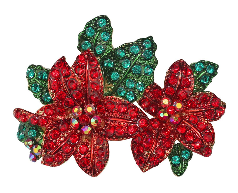 Kirks Folly Poinsettia Passion Pin (Goldtone)