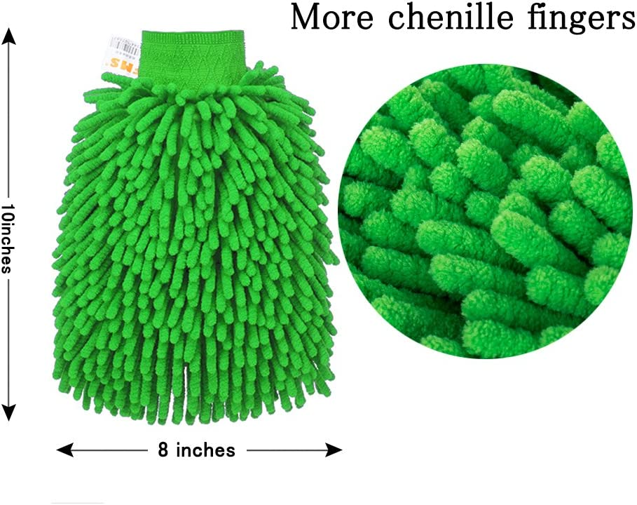 FMS Premium Microfiber Chenille Car Wash Mitts Gloves and 840gsm Ultra-Thick Microfiber Car Cleaning Towels Cloths,Double-Sided Lint-Free Free Scratch