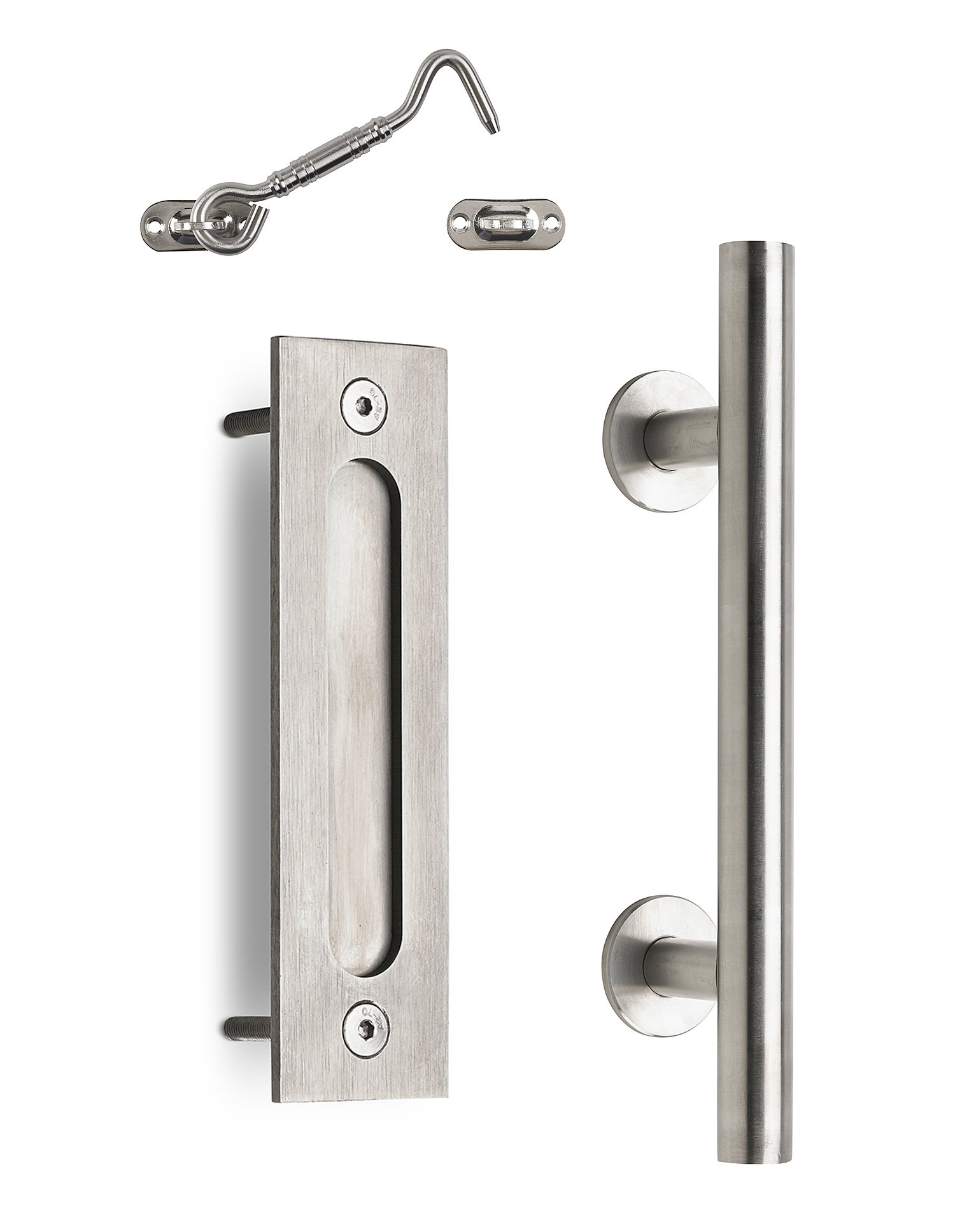 "Caldwell Co. Sliding Barn Door Handle Pull with Flush-Mount Plate & Cabin Hook Lock Heavy-Duty Modern Stainless Barn Door Hardware Set Strong 12"" Industrial Pull & Privacy Latch"
