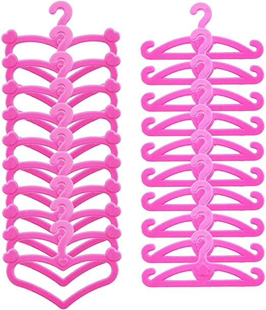50 Mix Plastic Hanger Holder Pink For Doll Clothes Accesories Dress Gift