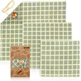 JUNMAO Organic Reusable Food Wraps, Eco Friendly Beeswax Wraps Assorted 3 Packs, Beeswax Food Wraps, Sustainable Plastic Free Food Storage, Handmade, Healthy, Plastic Free and Washable