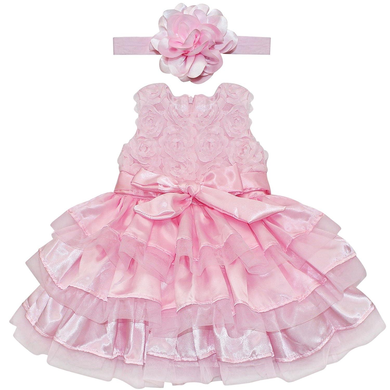 e730a1d9d YIZYIF Vestido Niña Rosa 2 Piezas De Bautizo Flor Vestido Para Bebé Niñas Recién  Nacidos 6