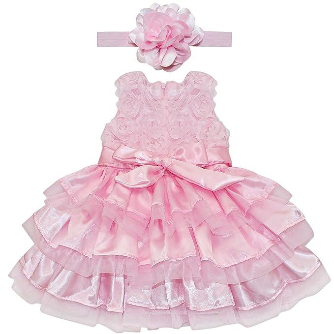 YIZYIF 2 Piezas Ropa De Bautizo Flor Vestido Verano Rosa Para Bebé-Niñas Recién Nacidos